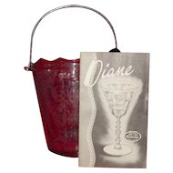 "Cambridge Glass ""Diane"" Etched Chrome Handled Ice Bucket With Ice Tongs"