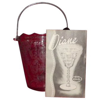 """Cambridge Glass """"Diane"""" Etched Chrome Handled Ice Bucket With Ice Tongs"""