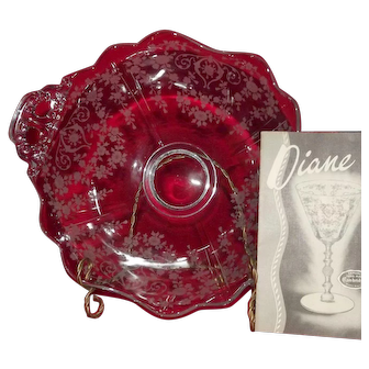 "Cambridge Glass ""Diane"" Etch Two Handled Bowl"