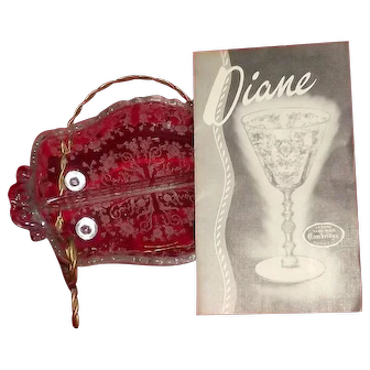 """Small Divided Relish Dish From Cambridge Glass In The """"Diane"""" Etch"""