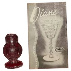 "Set Of Glass Topped Salt And Pepper Shakers In The ""Diane"" Etch From Cambridge Glass"
