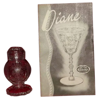 """Set Of Glass Topped Salt And Pepper Shakers In The """"Diane"""" Etch From Cambridge Glass"""