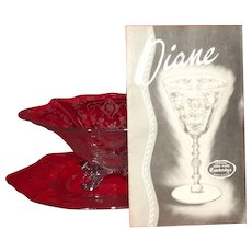 "Cambridge ""Diane"" Etched Mayo Bowl And Underplate"
