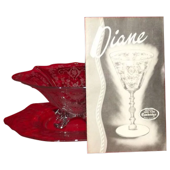 """Cambridge """"Diane"""" Etched Mayo Bowl And Underplate"""