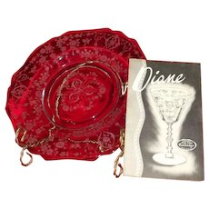 "Cambridge ""Diane"" Etched Pattern Salad Plate"