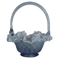 "Fenton Blue Opalescent ""Basketweave"" Pattern Basket"