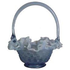 "Fenton Blue Opalescent ""Basketweave"" Pattern Basket"