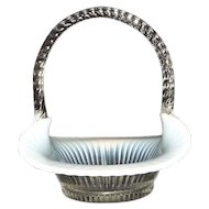 Fenton Twisted Handle Ribbed Opalescent Basket