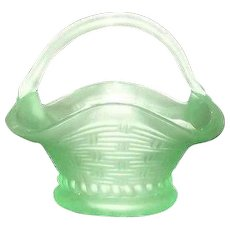 Unmarked Light Green Satin Glass Basket With Attached Handle