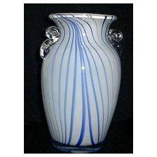 Blue and White Striped Art Glass Vase