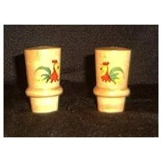 Rooster Decorated Turned Wood Salt And Pepper Shakers