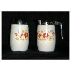 Floral Milk Glass Creamer And Sugar Shaker
