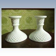 Diamond Point Milk Glass Candle Holders