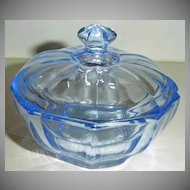 Bagley Powder Blue Glass Dish with Lid