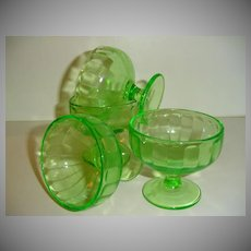 Green Federal Glass Cups