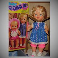 Vintage 1978 Mattel Baby Grows Up Doll Mint!