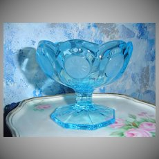 Blue Fostoria Coin Candy Dish