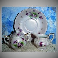 Violets Lefton  Sugar and Creamer
