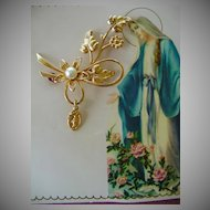 Miraculous Medal Pin on Card