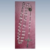 """Unique 24"""" Crystal Rosary Sterling Silver Cross/Medal"""