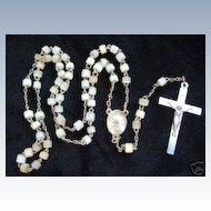 1950's  Catholic Rosary Pearly White Glass Beads