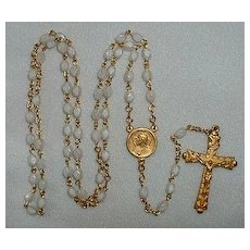 Catholic  Rosary Gold / White Sacred Heart Medal
