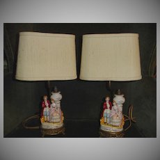 Occupied Japan  Boudoir Night  Table Lamps