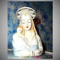 Vintage Madonna with Child Planter