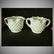 Fenton Hobnail Milk Glass Set of Creamer & Sugar