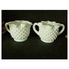 Fenton Hobnail Milk Glass Set of Creamer & Sugar