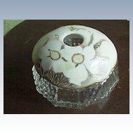 Glass/Porcelain White Flowers  Hair Receiver