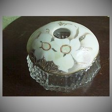 Glass/Porcelain White Flowers  Hair Receiver