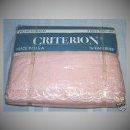 Vintage DAN RIVER Pink Twin Sheet Set  White Eyelet  *New