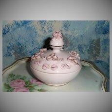 'Lefton's' Pink Flowers Powder Box with Rhinestones