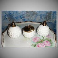 Milk Glass Set of Shakers and Mustard Jar with Lid