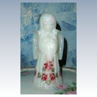 Signed Fenton Hand-Painted Poinsettias  Praying Angel