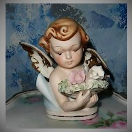Beautiful  Norcrest Bisque Cherub with Roses