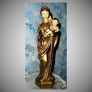 Vintage Tall Madonna  with Child Statue