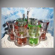 Depression Glass Liquor Set with Tray