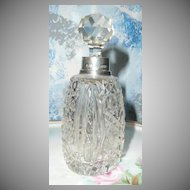 Beautiful Hobnail Cut  Glass English  Sterling  Silver Perfume Bottle