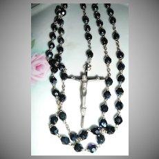 Iridescent Black Bead  Italian Rosary marked as ROMD