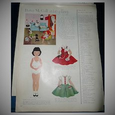 1954 McCall Magazine Betsy McCall 'It's Topsy-Turvy'  Paper Dolls
