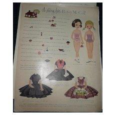 1955  McCall Magazine Betsy & Barbara  McCall  Paper Dolls