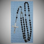 Vintage St. Therese of The Little Flower Black Bead Rosary