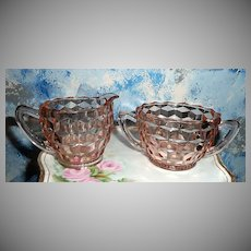 Holiday Pink Depression Cubed Pattern  Sugar and Creamer Set  Jeannette Glass