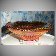 Jeannette Glass 'PICKET' Marigold Carnival Glass Dish