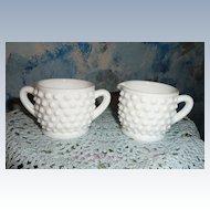Fenton  Hobnail Pattern Individual  Milk Glass Set of Creamer and Sugar
