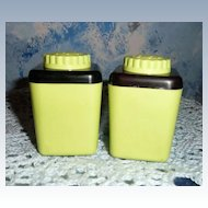 1950-1960's Lime Plastic Screw Top Shakers
