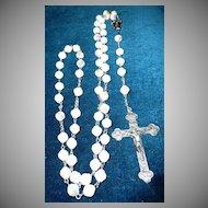 Beautiful Milk Glass Crystal Beads Roman Catholic Rosary