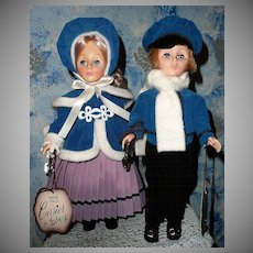 1979 Effanbee Currier & Ives Ice Skating Couple *MINT!
